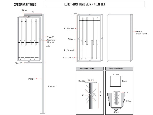 Gambar Material Konstruksi Neon Box